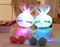 animal luz da noite de pelúcia venda por atacado-LED Plush Rabbit Stuffed Animal Azul Rosa Acender Crianças Brinquedo 30