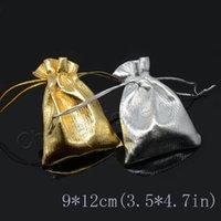 çorap torbaları gümüş toptan satış-50 adet / torba Altın / Gümüş renk İpli Torbalar Takı Hediye Çanta 9 * 12 CM, hediyeler çanta
