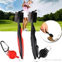 cepillo de alambre de nylon al por mayor-Lateral doble Golf Club cepillo de nylon alambre cerdas Zip Line bola Cepillos mini portátil limpiador llavero para fácil lleva al aire libre 6 5JH ZZ