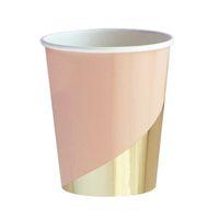 rosa papier geschirr großhandel-Goldfolie Rosa Einweggeschirr Weihnachten Neujahr Party Pappteller Cups Birthday Party Supplies Kunststoff