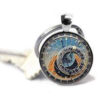 Wholesale key clocks resale online - Customized Handmade assembled glass photo Key chain Astronomical Glass Pendant Key Ring Astrology Keychain Clock Keychain