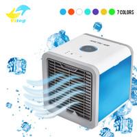ventilateurs de climatiseurs achat en gros de-USB Mini Portable Climatiseur Humidificateur Purificateur 7 Couleurs Lumière Bureau Ventilateur De Refroidissement D'air Ventilateur pour Bureau Accueil