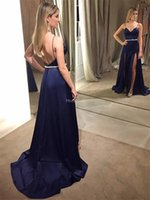 Wholesale special occasion dresses coral for sale - Group buy Sexy Evening Dresses Spaghetti Strap Backless Side Split A Line Special Occasion Dress Sweep Train Formal Party Prom Gown Plus Size Vestidos