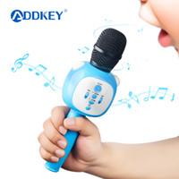 rosa drahtloser bluetooth lautsprecher großhandel-ADDKEY Drahtloses Bluetooth Mikrofon Kinder Baby Blau Rosa Karaoke Lautsprecher Musik Spielen Singen Spielzeug Weihnachtsbeste Geschenke
