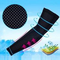 tela de voleibol al por mayor-1pcs manga del brazo de hielo Tela Verano Protección UV Running Baloncesto Voleibol Ciclismo de protección solar sudor transpirable brazo protector