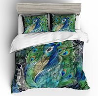 Wholesale peacock bedding sets for sale - Group buy 3D printing Green Peacock Series four piece set bedding Luxury Quilt Set flower cotton bed linen Bedding Outlet Life Sets Home decor
