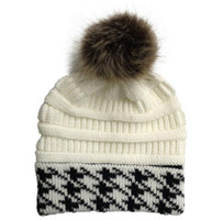 Wholesale white crochet hats for sale - Group buy New knit jacquard women Beanie Pom Pom Beanies Sports warm crochet Hats Knitted Cap Embroidery Soft Warmer adult Girls Skuilles Cap