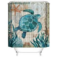 rideau mignon achat en gros de-Personnalisé monde sous-marin imperméable mignon tortues de mer Cool Rideaux de douche Rideaux de salle de bains d'impression 3D Digital avec anneaux