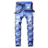 pantalones salvajes de los hombres al por mayor-Summer Jeans Men Slim Fashion Washed Retro Torn Holes Pantalones de mezclilla Hombre Streetwear Trend Wild Hip Hop Cowboy Pantalones Ropa masculina
