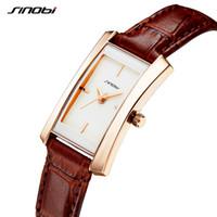 edle quarzuhr großhandel-Sinobi Paar Uhren Hochzeitsgeschenk Edle Rose Gold Rechteck Armbanduhr Braun Armband Männer Frauen Analog Quarz Liebhaber Uhr Mode