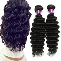 16 18 pulgadas de pelo al por mayor-En venta 8A Extensiones de cabello humano virgen de onda profunda brasileña Negro natural 8-32 pulgadas 4 paquetes de tramas de cabello de onda profunda de cabello virgen brasileño