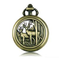 colar de relógio de bolso espelho venda por atacado-Gorben Bronze quartzo relógio de bolso colar de pingente com corrente Vintage presentes clássicos das mulheres dos homens Relógios do relógio