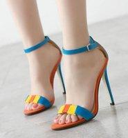 ingrosso scarpe in camoscio americano-Europa e americano semplice colore patchwork sandali in pelle scamosciata di pesce bocca fibbia scarpe super tacchi alti