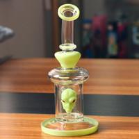 zoll glas wasser pfeifen perkolator grün großhandel-Light Green Skeleton Design 8 Zoll Glas Bong Wasserpfeife Shisha-Pfeife Percolator Becher mit Glasschüssel Quarz bangen