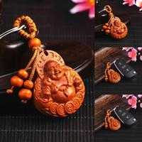 nouveau porte-clés chanceux achat en gros de-Mode Unisexe Chanceux Bouddha Maitreya Pendentif Caractère Chinois Lotus Porte-clés Mode Nouveau Porte-clés