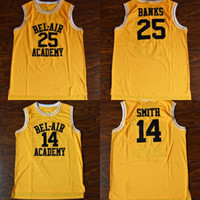 ingrosso aria di banca-Hot Will Smith # 14 Bel-Air Academy Basketball Carlton Banks # 25 Bel-Air Academy Movie Basketball Jersey Uomo Spedizione gratuita