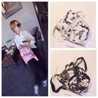 sahte deri okul çantası toptan satış-Bayanlar Çiçek Sırt Çantası Seyahat Faux Deri Çanta Sırt Çantası Seyahat Omuz Okul Çantası Kadın Kızlar Baskı Sırt Çantaları