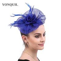 zarif partiler için saç aksesuarları toptan satış-saç klipleri düğün kilise başlık kapakları olan kadınlar zarif bayanlar parti şapkaya saç fascinators gelinlik tüyler aksesuarları