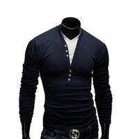 homens v largos camiseta venda por atacado-Clássico V Pescoço Tshirt Homens Largas T-Shirt de Manga Longa de Homens de Garment Superior Sem Forro de Manga Longa T-Shirt de Fitness Estrangeiro masculino