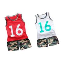 ternos de exército crianças venda por atacado-Criança Menino Roupas Camuflagem T-shirt Vest Tops Shorts Calças Do Exército Crianças Treino Ternos Esportivos Para Meninos Roupas 1 2 3 4 5 Anos