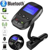 transmisores usb para construir radio de coche al por mayor-WirelessFM MP3 del transmisor de radio del adaptador de manos libres en el coche Bluetooth Versión V3.0 + EDR del cargador del coche Kit USB Micrófono incorporado
