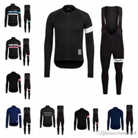 Wholesale blue jersey bib resale online - Rapha team Cycling long Sleeves jersey bib pants sets Spring and autumn Breathable Cycling Mens Cycling Clothing E1427