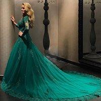 robes de soirée en tulle elie saab achat en gros de-Robes formelles vert émeraude robe de soirée 2019 à manches longues en dentelle appliques perles taille plus robes de bal robe de soirée robes de soirée Elie Saab