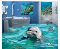 Wholesale cute bathroom wallpaper resale online - Customized D Self adhesive floor photo mural wallpaper D bathroom cute dolphin waterproof floor mural stickers