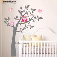 papel de parede da árvore da coruja venda por atacado-Coruja Árvore de Vinil Adesivos de Parede Decalques Mural Papel De Parede Crianças Crianças Quarto Do Bebê Quarto Do Berçário Adesivo Ano Novo Árvore Decoração de Casa
