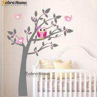 nuevo fondo de pantalla de árbol al por mayor-Owl Vinyl Tree Tatuajes de Pared Etiqueta de La Pared Mural Wallpaper niños Kids Baby Room Nursery Dormitorio Sticker Árbol de Año Nuevo Decoración Del Hogar