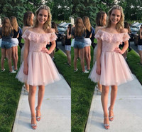 Wholesale blush short strapless party dress for sale - Group buy Blush Pink Lace Short Prom Dresses Boho Off The Shoulder Applique Beaded Crystal Sashes Cocktail Party Dress For Girls Homecoming Dress