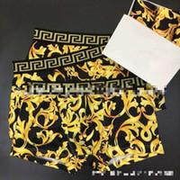 boxers amarillos hombres al por mayor-Ropa interior de cuatro esquinas para hombres, ventilador de marea, ratán amarillo, impresión digital, pantalones cortos de seda de hielo, calzoncillos boxer, ropa para el hogar