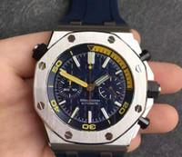 relógios de borracha digitais diversos venda por atacado-Luxo Mens Business Climbing Mergulhador Cronógrafo Assista 26703 Melhor Edição Azul Dial 42mm em Pulseira De Borracha Azul 3126 relógios de Pulso