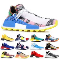 Wholesale brown shoe dye resale online - 2019 NMD Human Race Pharrell Williams Men Running Shoes PW HU Holi MC Tie Dye Equality Designer women Sport Sneakers With Box