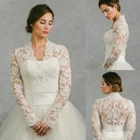 xaile de xadrez de contas de marfim venda por atacado-Lace Tulle Elegante Capes De Casamento Xaile Simples Para Vestidos De Noiva Querida Elegante Longo Manga Jaquetas De Renda De Noiva
