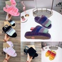 herbst sandalen großhandel-Luxus Designer Damenschuhe Australien Fluff Yeah Slide Furry Slides Pelz Hausschuhe Freizeitschuhe Stiefel Designer Frauen Sandalen Herbst