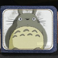 Wholesale totoro card holder for sale - Group buy Tonari no Totoro wallet Miyazaki Hayao cartoon purse Cat anime short cash note case Money notecase Leather jean burse bag Card holders