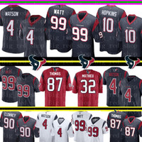 hopkins maillot achat en gros de-Houston 2019 Watson Jersey 4 Texans Deshaun 99 J.J. Watt 10 Maillot DeAndre Hopkins 87 Demaryius Thomas 90 Clowney 32 Mathieu Football