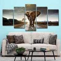 обрамленное африканское животное искусство оптовых-(Только Холст Без Рамки) 5 Шт. Африканский Слон Животных Wall Art HD Печать Холст Картины Моды Висит Картинки
