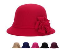 fieltro sombreros de cubo al por mayor-Lana partido redondo mujeres sombrero imitación señoras de las mujeres de imitación de la vendimia de lana Rosa Flor de fieltro sombrero de Fedora Otoño Invierno casquillo del cubo del Cloche