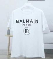fabrika markalı toptan satış-2019 Yeni Balmain T-Shirt Varış Ünlü Lüks Fransa Marka Balmain Kadınlar Erkekler Için Fabrika Moda Modeli Sıska Delik