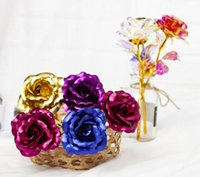 100PCS Wreaths Flowers Valentine e's Day 24k Gold Foil Plated Rose Creative Gifts Lasts Forever for Lover's Wedding Oranments