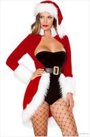 erwachsene kleidung spiele sexy großhandel-Frauen Weihnachten Kleidung Sexy Fräulein Santa Kleid Weihnachten Kostüme Für Erwachsene Roly Spiel Bodycon Kleid Und Hut Set