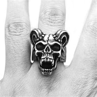 Wholesale vampires band online - size New Arrival DEMON VAMPIRE Ring L Stainless Steel Jewelry Men Boys Punk Style Skull Ring