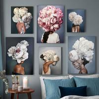 fotos de moda para parede venda por atacado-Nordic floral moderno Mulher Feather Abstract Moda Estilo lona Pintura Impressão artística Poster Picture Recados Living Room Home Decor