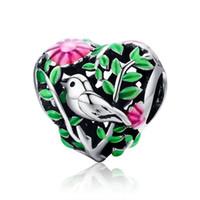 pedra de pedraça de 4 mm venda por atacado-Coleção de verão 100% 925 Sterling Silver Bird no Woods charme Beads fit mulheres pulseira colares jóias presente SCC647