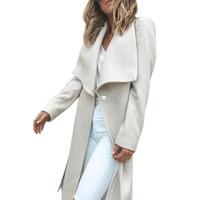 пальто оптовых-Fashion Turn Down Collar Long Wool Coat Elegant Winter Woman Wool Blend Coats Loose Type Female Solid Long Coat Outerwear