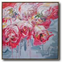 peinture à l'huile rouge achat en gros de-Peinture de fleurs d'artRésumé Peinture à l'huile de fleurs rouges grand