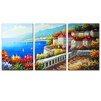 Wholesale oil paintings sea view resale online - Sea View Villa Painting Modern Artwork Simple Life Painting Pictures for Home Decor Unframed Canvas Wall Art