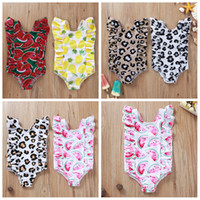 Wholesale girl swimsuits resale online - 6styles Leopard fruit print kids swimsuit one piece summer beach baby girl Pineapple watermelon swimming clothes FFA4087